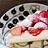 苺がのったレアチーズケーキ